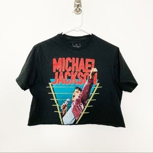Michael Jackson Crop Top Band Tee M #2212